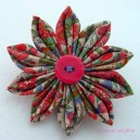 Large Vintage Fabric Flower Brooch
