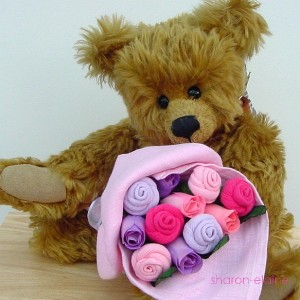 Small Baby Girl Pastel Sock Rose Bouquet