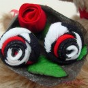 Red White Black Sock Rose Buds