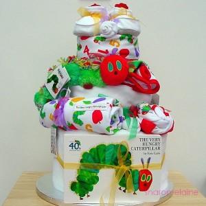 Three Tier Very Hungry Caterpillar Baby Cake