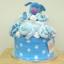 Two Tier Blue Doggy Baby Cake
