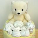 One Tier Cream and Lemon Baby Cake